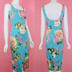 Dolce & Gabbana Dresses - SOLD! DOLCE & GABBANA Blue Floral Midi Dress 30/44